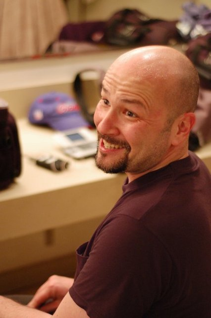 """Singer/Actor Philip Paul Kelly backstage in """"Camelot."""""""